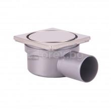 ПП(PP) Сифон подов Ø50 квадратен 100х100мм., h=65мм. с автоматичен затвор, неръждаема капачка, странично оттичане - RING