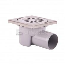 ПВЦ(PVC) Сифон подов Ø50 квадратен 100х100мм. с неръждаема капачка, странично оттичане - 2400.91К