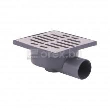 ПВЦ(PVC) Сифон подов Ø50 квадратен 140х140мм. с неръждаема капачка 4мм., странично оттичане - STREAM 2903