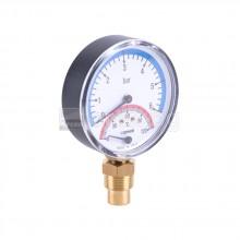 Tермоманометър с клапан – радиален – Ø80мм, 0÷120°C; 0÷6bar  – CEWAL