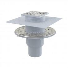 ABS Сифон подов Ø50 долно оттичане, сух/мокър затвор, h=79÷174мм, 105х105мм неръждаема решетка и фланец, 2 яки, APV2324 - ALCAPLAST
