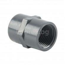 ПВЦ(PVC) Съединител гладка муфа-вътрешна резба Ø20-1/2'', PN16