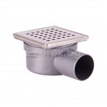 ПП(PP) Сифон подов Ø50 квадратен 100х100мм., h=65мм. с автоматичен затвор, неръждаема капачка, странично оттичане - SQUARE