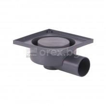 ПВЦ(PVC) Сифон подов Ø50 квадратен, за плочка 130х130мм., странично оттичане - 2907