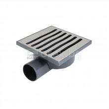 ПВЦ(PVC) Сифон подов Ø50 квадратен 140х140мм. с неръждаема капачка 4мм., странично оттичане - LUX ONLY 2905