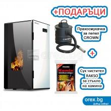 Пелетна Камина BURNiT Vision 4G 13kW, с водна риза 11kW - Бял лебед + ПОДАРЪК Wi-Fi модул