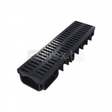 ПЕВП(PEHD) Канал 130/50мм, пластмасова решетка А15, 0.5м, Черен - DEVOREX Xdrain