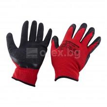 Ръкавици, червено трико/черен латекс