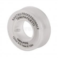 Тефлонова лента малка, професионална, бяла - 12мм/0.10мм/12м