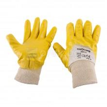 Ръкавици, бяло трико/жълт нитрил