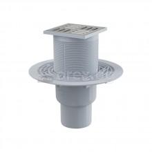 ABS Сифон подов Ø50 долно оттичане, сух/мокър затвор, h=79÷174мм, 105х105мм неръждаема решетка, APV2321 - ALCAPLAST