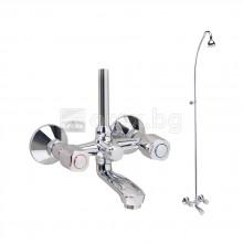 Смесител стенен за вана/душ със стационарен душ, VIDIMA Iskar - B1395AA