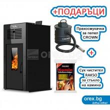 Суха Пелетна Камина BURNiT Ambient Duo Plus 4G - 13kW, с въздуховод, без водна риза - ЧЕРЕН (гланц)