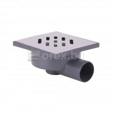 ПВЦ(PVC) Сифон подов Ø50 квадратен 140х140мм. с неръждаема капачка 1мм., странично оттичане - 2901