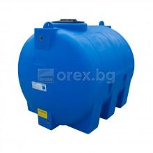 ПЕВП(PEHD) Резервоар за вода 1500л, цилиндричен, хоризонтален, отвор Ø400мм