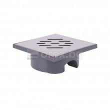 ПВЦ(PVC) Сифон подов Ø50 квадратен 140х140мм. с неръждаема капачка 1мм., долно оттичане - 2902