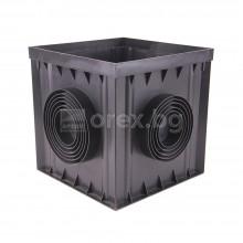 ПП(PP) Кутия за шахта 300х300х300мм, изход Ø75/90/110/125/140/160мм - Графит 01792