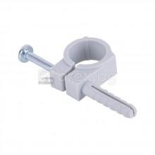 Скоба за пластмасова тръба с дюбел единична Ø16