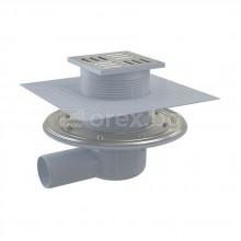 ABS Сифон подов Ø50 странично оттичане, сух/мокър затвор, h=79÷174мм, 105х105мм неръждаема решетка и фланец, 2 яки, APV1324 - ALCAPLAST