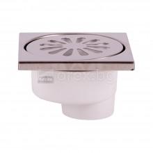 ПВЦ(PVC) Сифон подов Ø50 квадратен 100х100мм. с неръждаема капачка, долно оттичане - 2400.94К