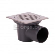 ПВЦ(PVC) Сифон подов Ø50 квадратен 90х90мм. с неръждаема капачка, странично оттичане