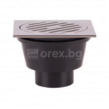 ПВЦ(PVC) Сифон подов Ø50 квадратен 100х100мм. с неръждаема капачка, долно оттичане