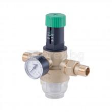 Редуцир-вентил за вода 1/2'' - вход макс. 16bar - манометър, филтър и холендри с уплътнител